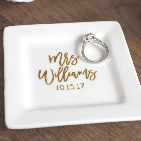 Personalized Engagement Ring Dish with Date