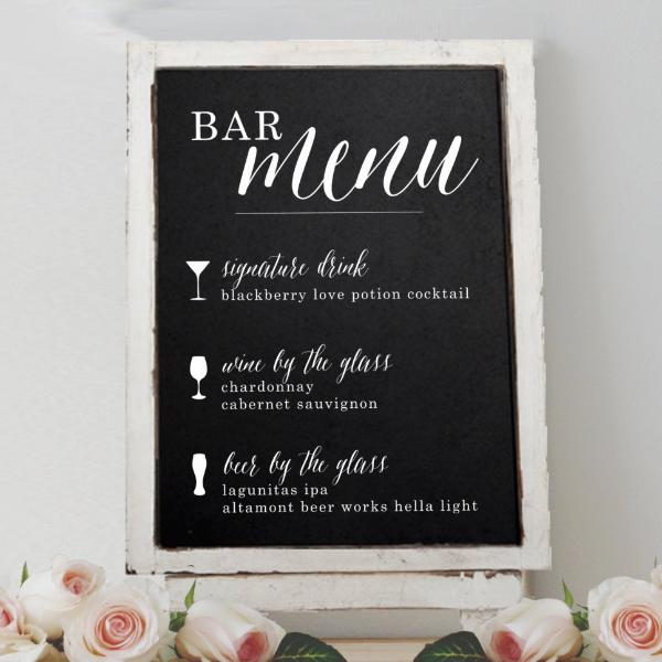 Wedding Bar Menu Chalkboard Sign | Rich Design Co