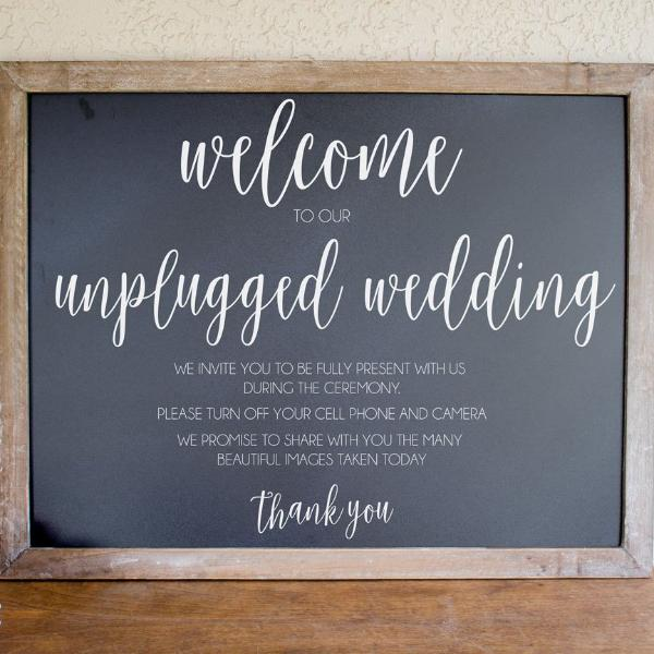 Unplugged Wedding Chalkboard Sign | Rich Design Co