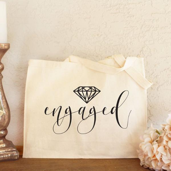 Engaged Canvas Tote Bag with Diamond Design | Rich Design Co