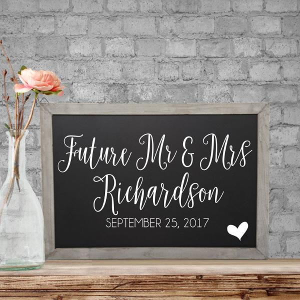 Future Mr & Mrs Personalized Chalkboard Engagement Sign | Rich Design Co