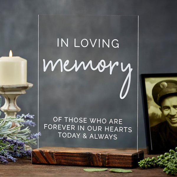 In Loving Memory Acrylic Wedding Memorial Sign - Rich Design Co