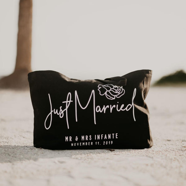 Just Married Personalized Canvas Beach Bag - Rich Design Co