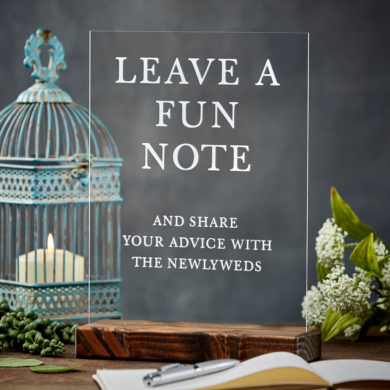 Leave a Fun Note Advice For the Newlyweds Acrylic Wedding Sign - Rich Design Co
