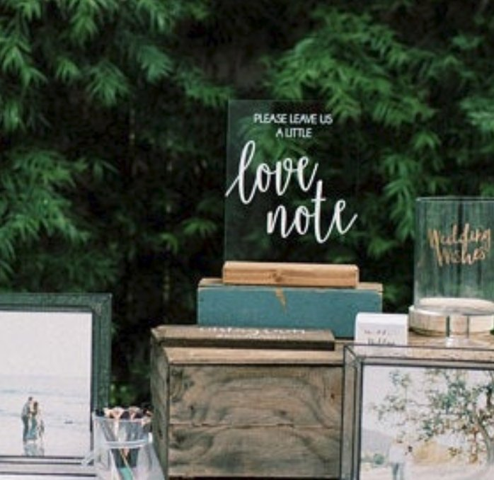 """Leave Us a Love Note"" Acrylic Guest Book Sign - Rich Design Co"