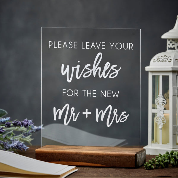 Leave Your Wishes for the Mr & Mrs Acrylic Wedding Sign - Rich Design Co