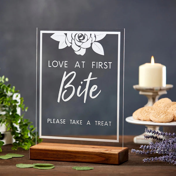 Love at First Bite Floral Acrylic Sign - Rich Design Co
