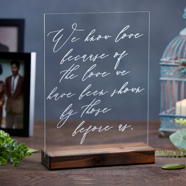 Love Before Us Family Photo Acrylic Wedding Sign - Rich Design Co