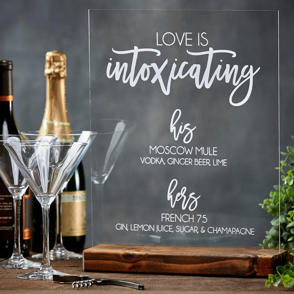 Love Is Intoxicating Signature Drink Acrylic Sign - Rich Design Co