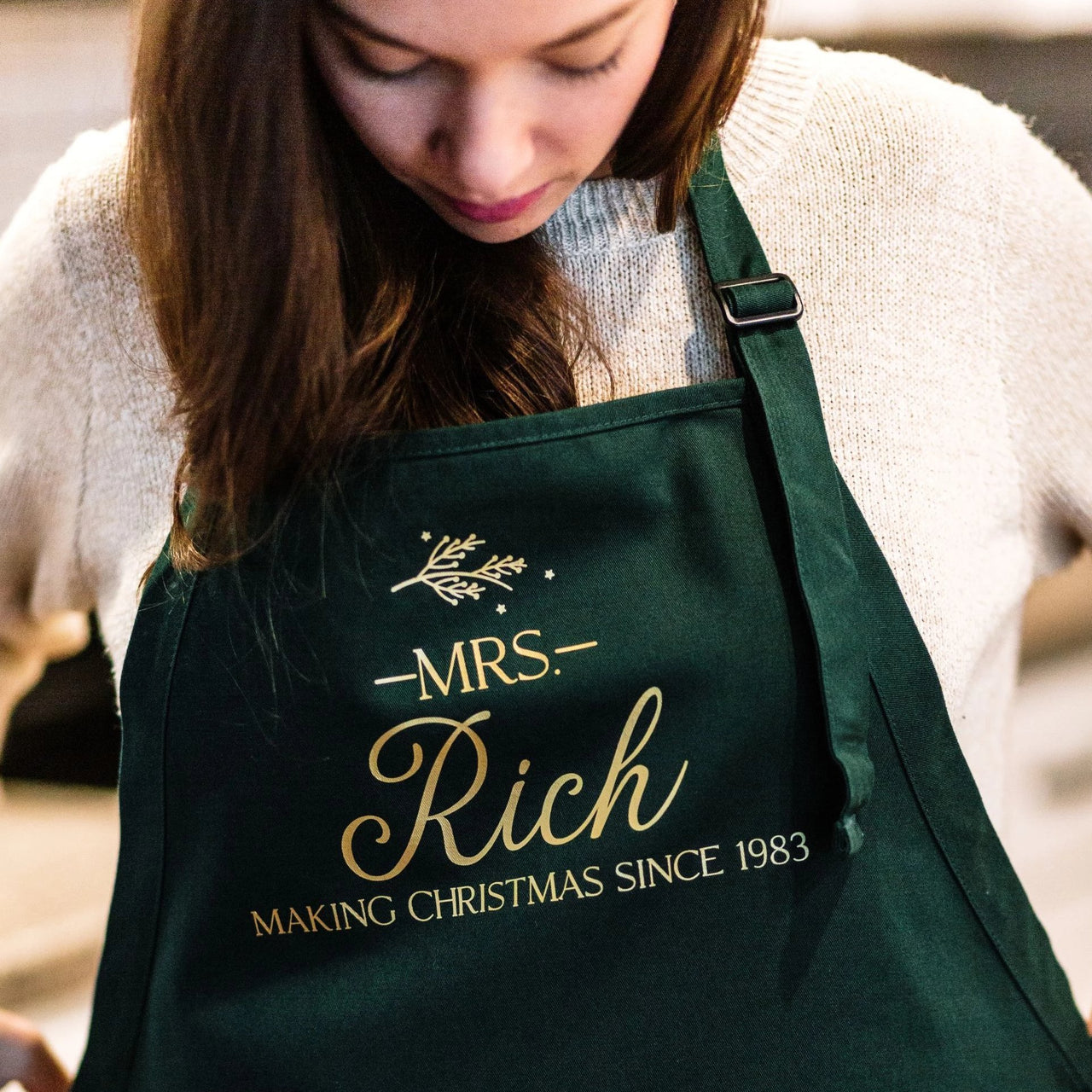 Making Christmas Personalized Holiday Cooking Apron - Rich Design Co
