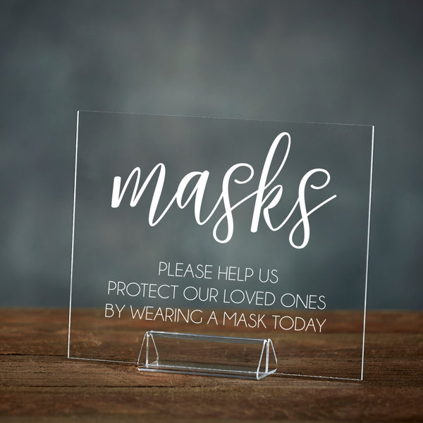 Masks Required | Social Distancing Acrylic Event Sign - Rich Design Co