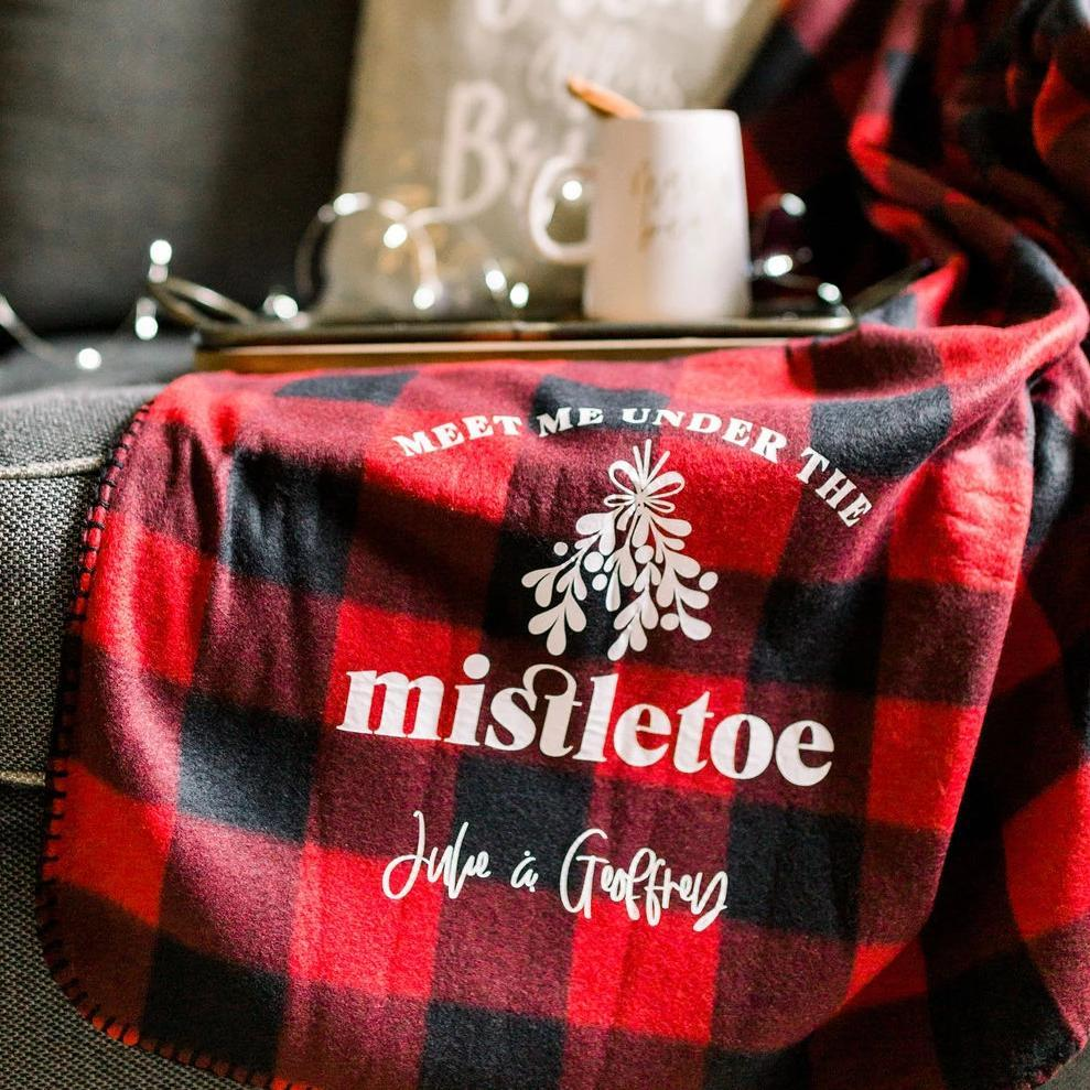 Meet Me Under the Mistletoe Personalized Holiday Fleece Blanket - Rich Design Co