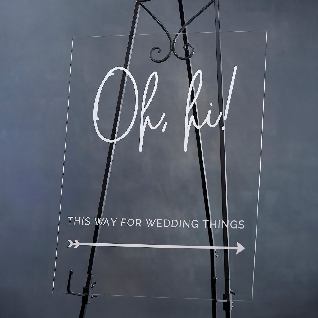 "Modern Script ""Oh Hi"" Directional Acrylic Wedding Sign - Rich Design Co"