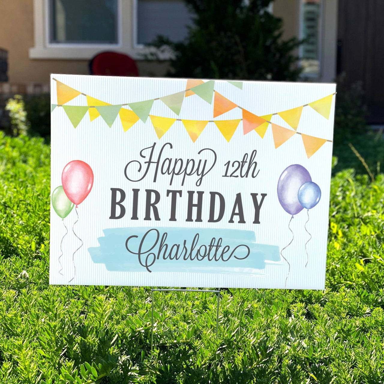 Party Flags Personalized Birthday Yard Sign - Rich Design Co