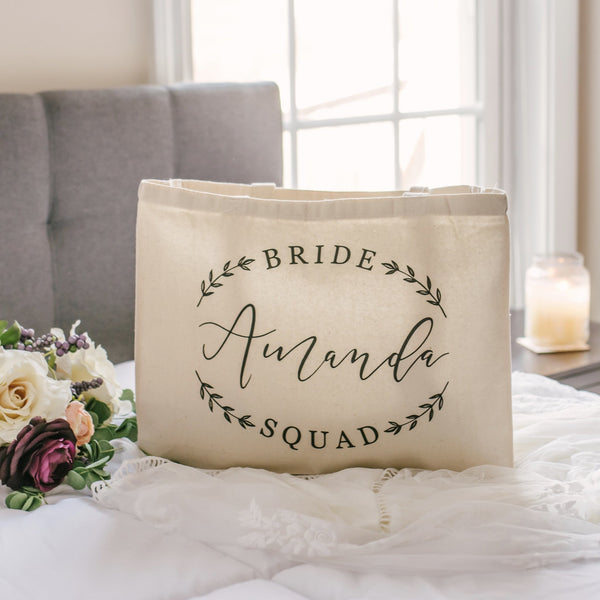 Personalized Bride Squad Bridesmaid Tote Bag - Rich Design Co