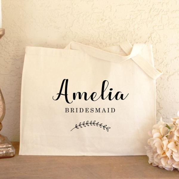 Personalized Bridesmaid Canvas Tote Bag - Rich Design Co