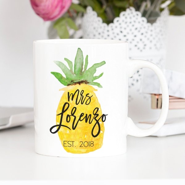 Personalized Mrs, Watercolor Pineapple Mug - Rich Design Co