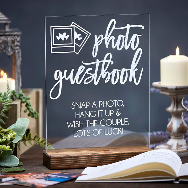 Photo Guestbook Acrylic Sign (Snap a Photo, Hang it Up) - Rich Design Co