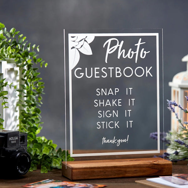 Photo Guestbook Floral Acrylic Sign - Rich Design Co