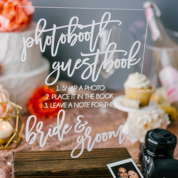 Photobooth Guestbook Acrylic Wedding Sign - Rich Design Co