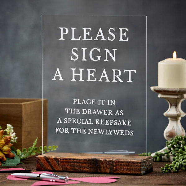 Please Sign A Heart Alternative Guestbook Acrylic Wedding Sign - Rich Design Co