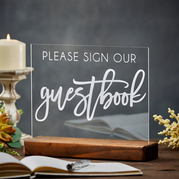 Please Sign Our Guestbook Fun Acrylic Guestbook Table Sign - Rich Design Co