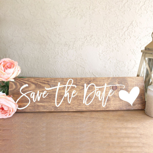 Save the Date Wooden Engagement Photos Sign - Rich Design Co