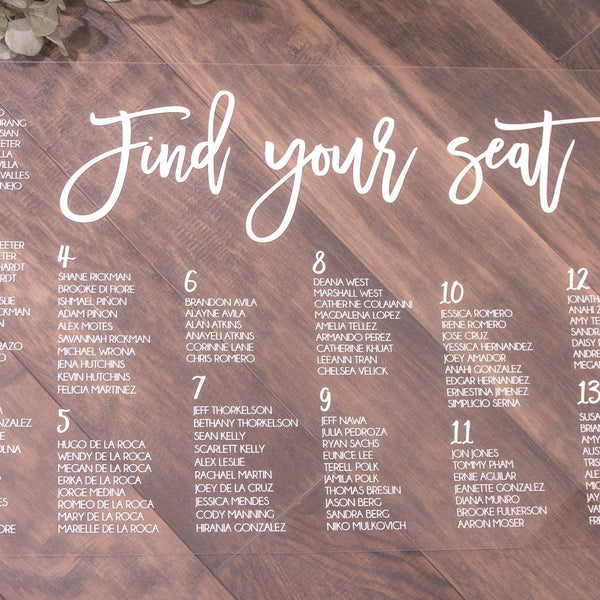 Stylish & Modern Clear Acrylic Wedding Seating Chart - Rich Design Co