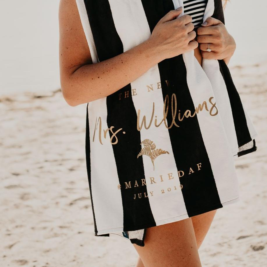The New Mrs Personalized Honeymoon Beach Towel - Rich Design Co