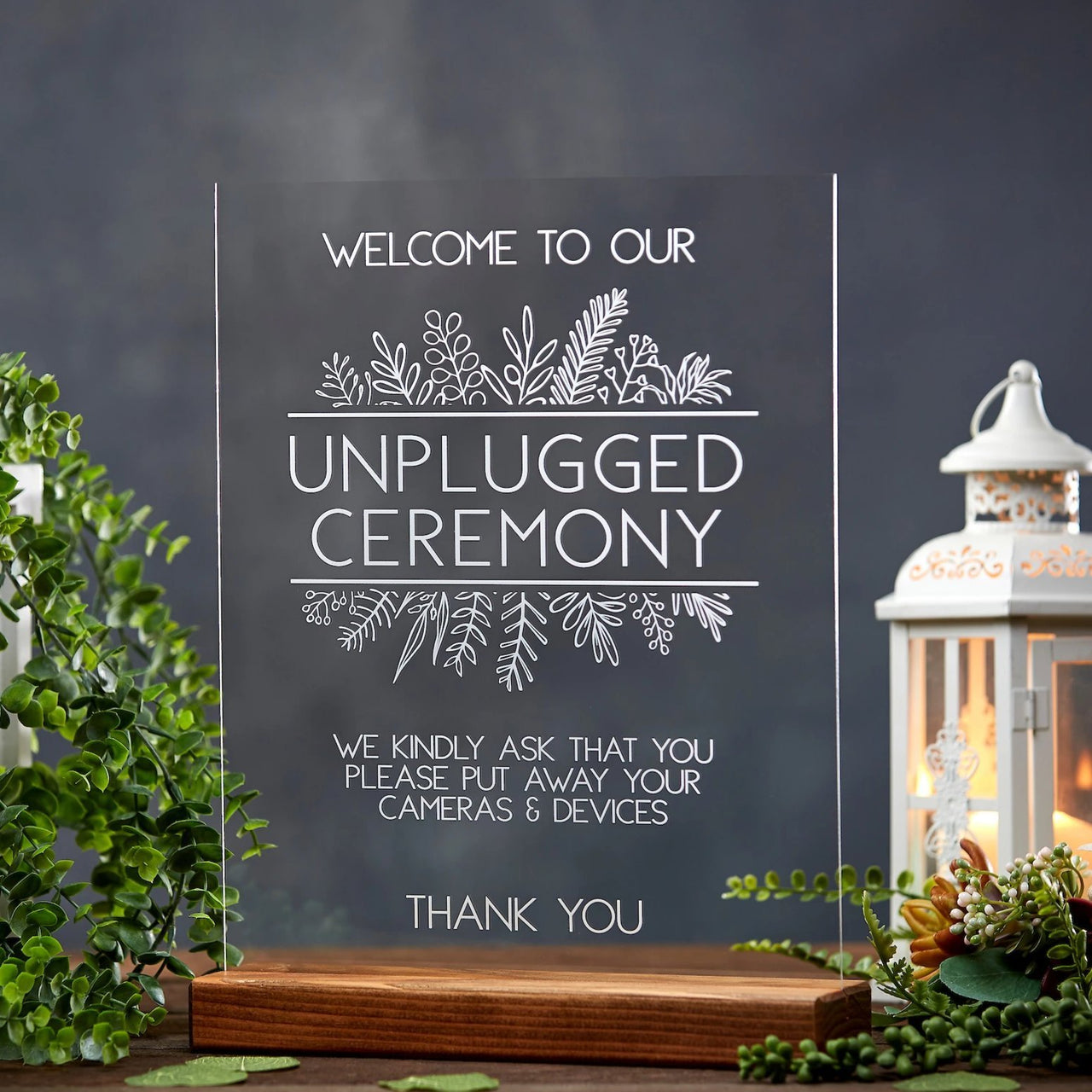 Unplugged Ceremony Acrylic Sign - Rich Design Co