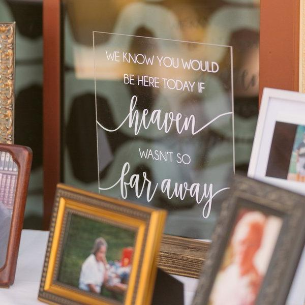 """We Know you Would be Here Today, If Heaven Wasn't so Far Away"" Wedding Remembrance Sign - Rich Design Co"