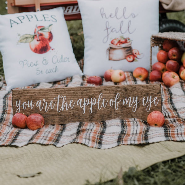 You Are the Apple of My Eye Painted Wooden Sign - Rich Design Co