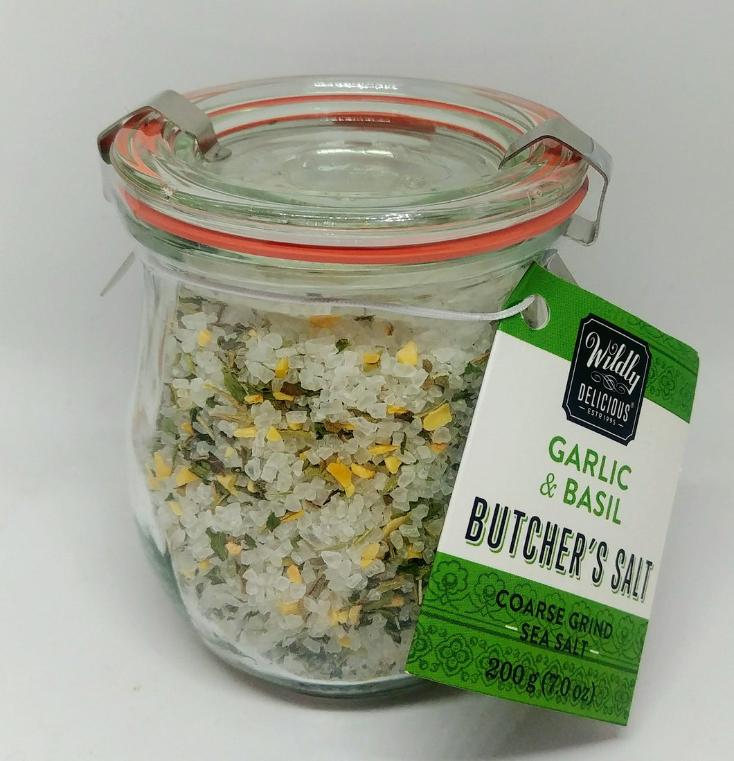 Wildly Delicious Butcher's Salt - Garlic & Basil 200g