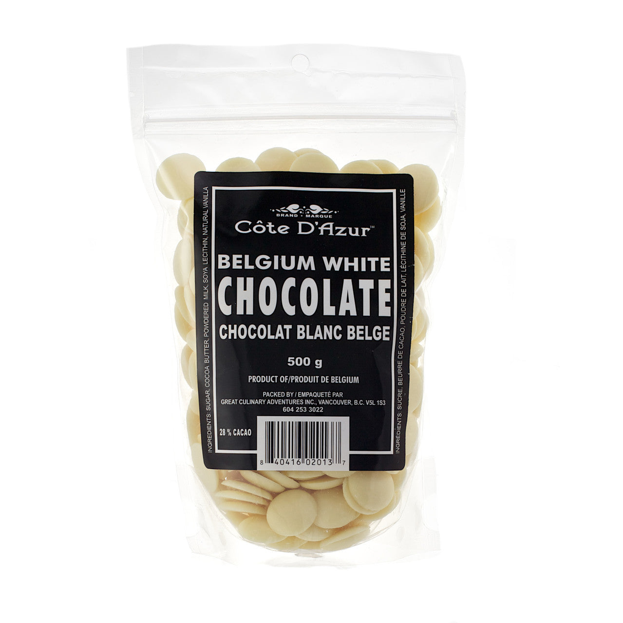 Cote D'Azur Belgian Melting Chocolate - White 500g