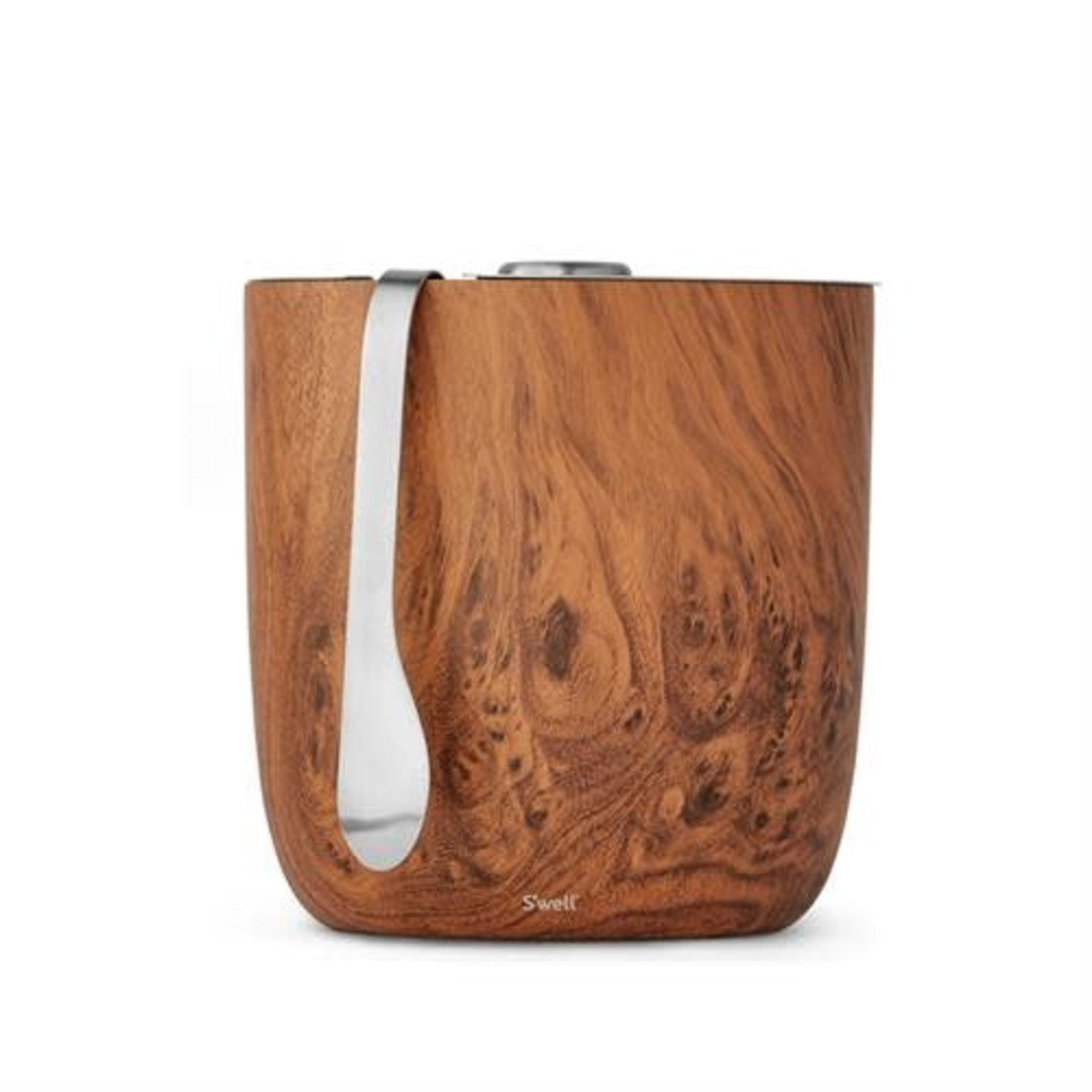 Swell Teak Insulated Stainless Steel Ice Bucket & Tongs  67 oz