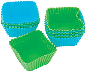 Wilton Silicone Baking Cups - Square Set 12 Green and Blue