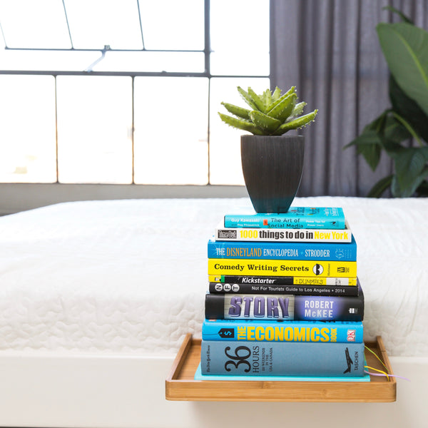 BedShelfie - Modern Bamboo Bedside Shelf / Space-Saving, Floating Nightstand (in Natural Bamboo) - BedShelfie