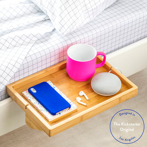 BedShelfie - Modern Bamboo Bedside Shelf / Space-Saving, Floating Nightstand (in Natural Bamboo)