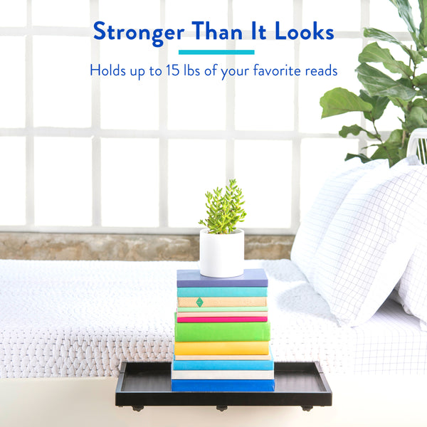 BedShelfie Plus - Bamboo Bedside Shelf / Space-Saving Floating Nightstand (Plus Size in Black)