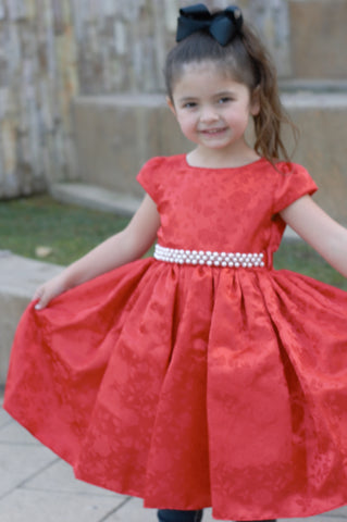 christmas dress, red, pearls, special occasion