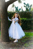 Girls' Princess White Dress with Cap Sleeves