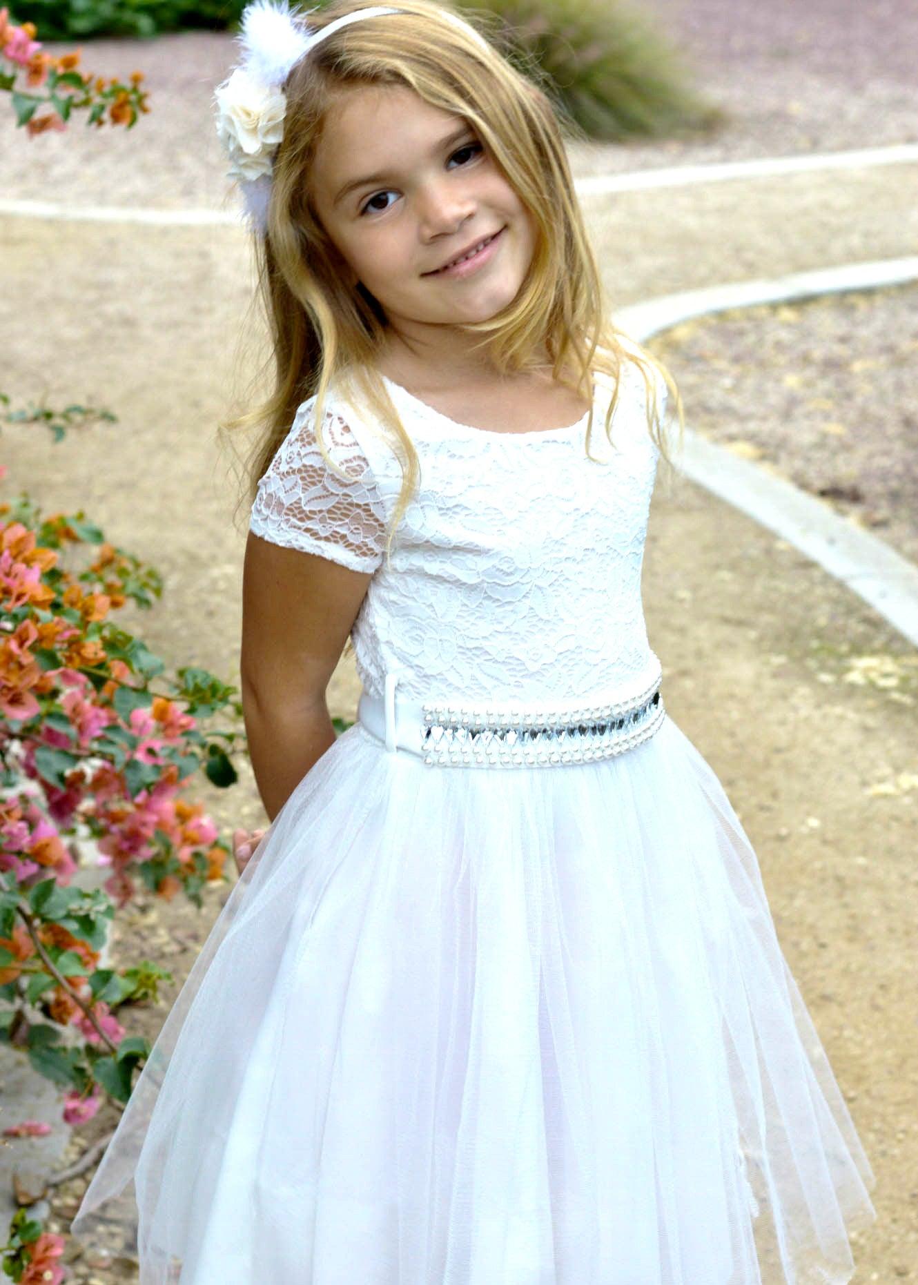08721b4e60 Clearance  Girls  Cream and Fuchsia Flower Girl Dress – Lil Neti ...