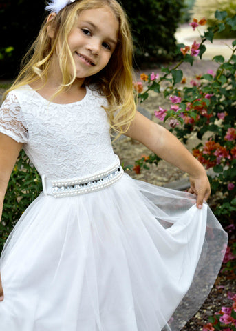 Girls' Off-White Tulle and Sparkly Sash Dress