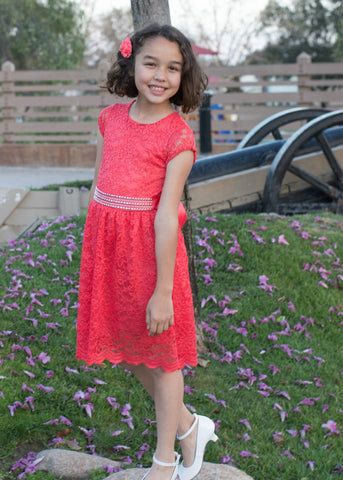 Girls' Lace Coral Dress