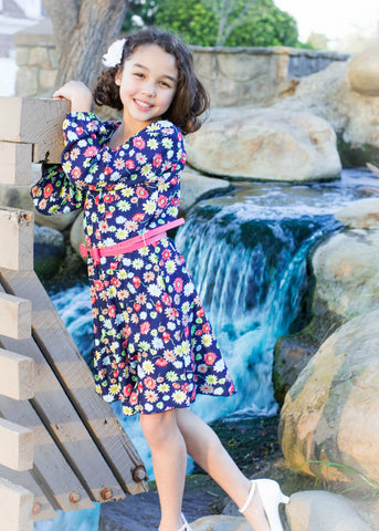 Girls' Flower Print Dress
