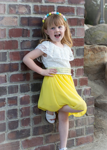 *Clearance* Girls' Adorable Peasant Top Chiffon Skirt Dress in Yellow