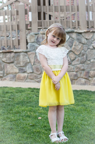 Girls' Adorable Peasant Top Chiffon Skirt Dress in Yellow