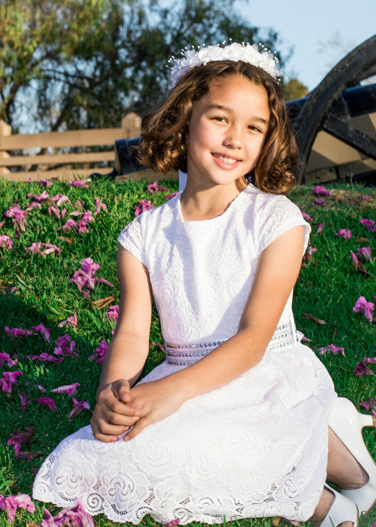 Girls' White Gorgeous Lace Dress