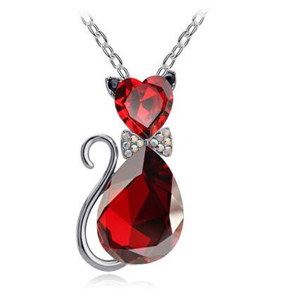 Cat Fashion necklace with cat shaped & bow-tie crystal pendant