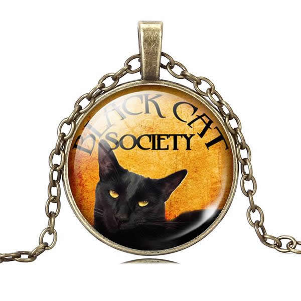 Cat glass cabochon necklace black cat art chain necklace jewelry